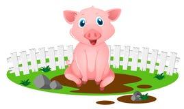 Porco pequeno na poça enlameada ilustração do vetor