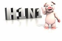Porco que está na frente do texto H1N1 Imagens de Stock