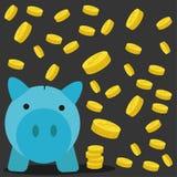 Porco uma caixa de moeda com fundo da moeda Imagem de Stock Royalty Free