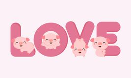 Porcos bonitos com cartas de amor Cartão de Valentine Greeting ilustração royalty free