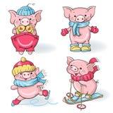Porcos dos desenhos animados Fotografia de Stock Royalty Free