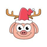porcos dos desenhos animados usando chapéus de Santa ilustração stock