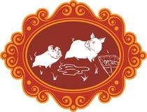 Porcos e leitão engraçados dos desenhos animados na exploração agrícola que tem o divertimento, o jogo e o f Imagens de Stock