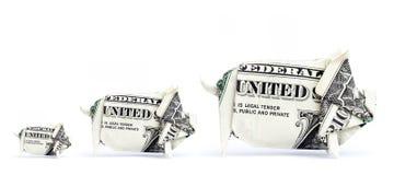 3 porcs d'argent photos libres de droits