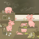 Porcs d'illustration de vecteur devenant comme fous Image libre de droits
