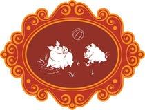 Porcs et porcelets drôles de bande dessinée à la ferme ayant l'amusement, jouer et le f Images stock