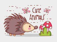 Porcupine in forest cute cartoon. Vector illustration graphic design Royalty Free Stock Photo