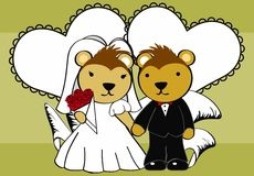 Porcupine married cartoon background Stock Image