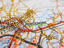 Pordenone city over a road map ITALY. Pordenone  city over a road map ITALY Royalty Free Stock Images
