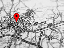 Pordenone city over a road map ITALY Stock Photo