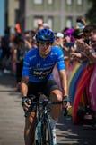 Pordenone, Italie le 27 mai 2017 : Cycliste professionnel Mikel Landa Sky Team, dans le débardeur bleu Image stock