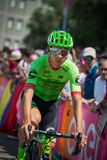 Pordenone, Italy May 27, 2017: Davide Formolo, Cannondale  team, transferring from the bus to the podium signatures. Before the start for a tough mountain stage Royalty Free Stock Images
