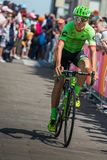 Pordenone, Italy May 27, 2017: Davide Formolo, Cannondale  team, transferring from the bus to the podium signatures. Before the start for a tough mountain stage Royalty Free Stock Photos