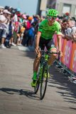 Pordenone, Italy May 27, 2017: Davide Formolo, Cannondale  team, transferring from the bus to the podium signatures. Before the start for a tough mountain stage Stock Images