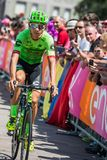 Pordenone, Italy May 27, 2017: Davide Formolo, Cannondale  team, transferring from the bus to the podium signatures. Before the start for a tough mountain stage Stock Photos