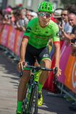 Pordenone, Italy May 27, 2017: Davide Formolo, Cannondale  team, transferring from the bus to the podium signatures. Before the start for a tough mountain stage Royalty Free Stock Photo