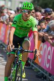 Pordenone, Italy May 27, 2017: Davide Formolo, Cannondale  team, transferring from the bus to the podium signatures. Before the start for a tough mountain stage Stock Photo