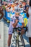 Pordenone, Italy May 27, 2017: Professional cyclist Adam Yates Orica Team, in white jersey, in first line. Before the start for a tough mountain stage of the Royalty Free Stock Photos