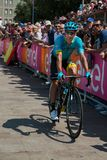 Pordenone, Italy May 27, 2017: Professional cyclist of the Astana Pro team, transferring from the bus to the podium signatures. Before the start for a tough Stock Photography
