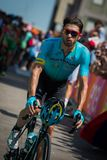 Pordenone, Italy May 27, 2017: Professional cyclist of the Astana Pro team, transferring from the bus to the podium signatures. Before the start for a tough Royalty Free Stock Image