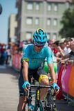 Pordenone, Italy May 27, 2017: Professional cyclist of the Astana Pro team, transferring from the bus to the podium signatures. Before the start for a tough Stock Image
