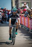 Pordenone, Italy May 27, 2017: Professional cyclist of the Bora Hansgrohe team, transferring from the bus to the podium signatures. Before the start for a tough Stock Photography