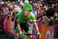 Pordenone, Italy May 27, 2017: Professional cyclist of the Cannondale team. Transferring from the bus to the podium signatures before the start for a tough Stock Photo