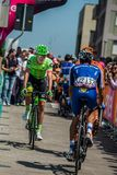 Pordenone, Italy May 27, 2017: Professional cyclist of the Cannondale team, transferring from the bus to the podium signatures. Before the start for a tough Stock Image