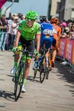Pordenone, Italy May 27, 2017: Professional cyclist of the Cannondale team, transferring from the bus to the podium signatures. Before the start for a tough Royalty Free Stock Images