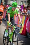 Pordenone, Italy May 27, 2017: Professional cyclist of the Cannondale team, transferring from the bus to the podium signatures. Before the start for a tough Royalty Free Stock Photos