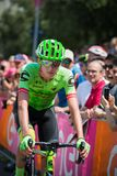 Pordenone, Italy May 27, 2017: Professional cyclist of the Cannondale team, transferring from the bus to the podium signatures. Before the start for a tough Stock Images