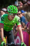 Pordenone, Italy May 27, 2017: Professional cyclist of the Cannondale team, transferring from the bus to the podium signatures. Before the start for a tough Royalty Free Stock Image