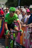 Pordenone, Italy May 27, 2017: Professional cyclist of the Cannondale team, transferring from the bus to the podium signatures. Before the start for a tough Stock Photos