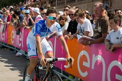 Pordenone, Italy May 27, 2017: Professional cyclist of the Fdj TEAM Royalty Free Stock Photo