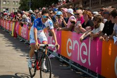 Pordenone, Italy May 27, 2017: Professional cyclist of the Fdj TEAM Stock Image