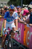 Pordenone, Italy May 27, 2017: Professional cyclist of the Fdj TEAM, transferring from the bus to the podium signatures Stock Photo
