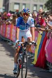 Pordenone, Italy May 27, 2017: Professional cyclist of the Fdj TEAM, transferring from the bus to the podium signatures Stock Photos