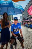 Pordenone, Italy May 27, 2017: Professional cyclist Mikel Landa Sky Team, in blue jersey, in first line. Before the start for a tough mountain stage of the Giro Stock Photo