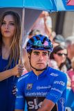 Pordenone, Italy May 27, 2017: Professional cyclist Mikel Landa Sky Team, in blue jersey, in first line. Before the start for a tough mountain stage of the Giro Stock Photography
