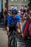 Pordenone, Italy May 27, 2017: Professional cyclist Mikel Landa Sky Team, in blue jersey. Pordenone, Italy May 27, 2017: Professional cyclist Mikel Landa Sky Stock Image