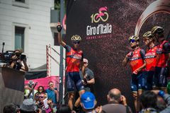 Pordenone, Italy May 27, 2017: Professional Cyclists  on  the podium signatures. Before the start for a tough mountain stage of the Giro D`Italia 2017 Royalty Free Stock Photos