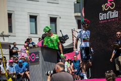 Pordenone, Italy May 27, 2017: Professional Cyclists  on  the podium signatures. Before the start for a tough mountain stage of the Giro D`Italia 2017 Stock Images