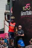 Pordenone, Italy May 27, 2017: Professional Cyclists  on  the podium signatures. Before the start for a tough mountain stage of the Giro D`Italia 2017 Royalty Free Stock Photo