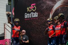 Pordenone, Italy May 27, 2017: Professional Cyclists  on  the podium signatures. Before the start for a tough mountain stage of the Giro D`Italia 2017 Stock Image