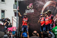 Pordenone, Italy May 27, 2017: Professional Cyclists  on  the podium signatures. Before the start for a tough mountain stage of the Giro D`Italia 2017 Stock Photography