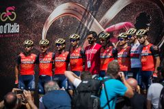 Pordenone, Italy May 27, 2017: Professional Cyclists  on  the podium signatures. Before the start for a tough mountain stage of the Giro D`Italia 2017 Stock Photos