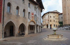 Pordenone. View of fountain in St. Marco square, Pordenone Stock Image