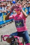 Pordenone, Włochy Maj 27, 2017: Fachowy cyklista Nairo Quintana MovistarTeam w różowym bydle w pierwszy linii, Zdjęcia Stock