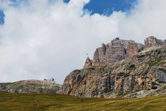 Pordoi Pass. With the cableway - Canazei, Trento, Trentino-Alto Adige, Italy Royalty Free Stock Photo