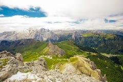 Pordoi pass mountain road and Marmolada mountain range rom the Sass Pordoi plateau in Dolomites, Italy, Europe Stock Photo